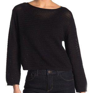 RDI Open Stitch Pullover Sweater - Black NWT